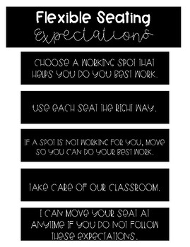 Flexible Seating Expectations Posters