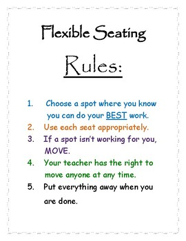 Flexible Seating Flyer, Student Posters and Instructions