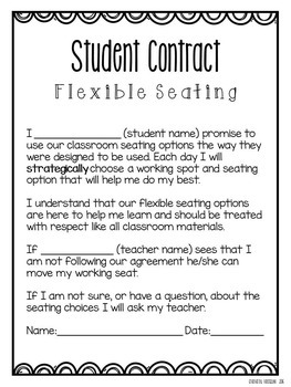 Flexible Seating Parent Letter and Student Contract FREEBIE