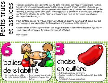 Flexible Seating French Posters (Editable) - Les sièges flexibles, affiches