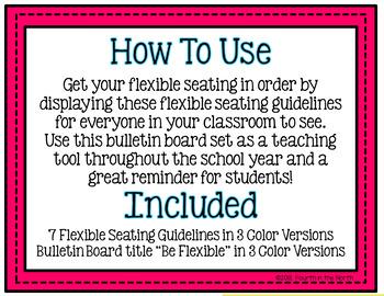 Flexible Seating Guidelines Bulletin Board Set