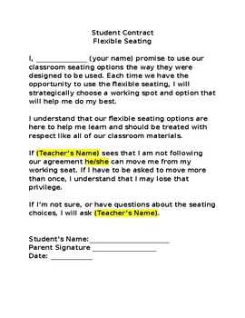 Flexible Seating Letter Home and Contract