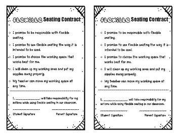 Flexible Seating Parent Letter & Student Contract