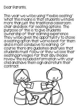 Flexible Seating Parent letter and Student Contract