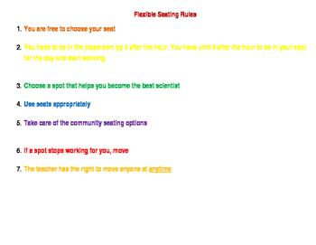 Flexible Seating Rules Class Flyer