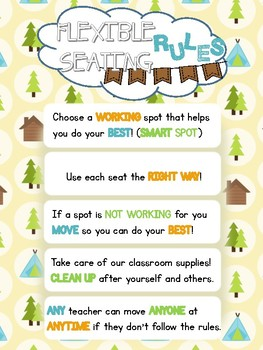 Flexible Seating Rules Classroom Poster Camping Theme (Cabins)