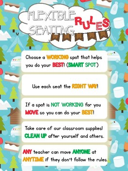 Flexible Seating Rules Classroom Poster Camping Theme (Campers)