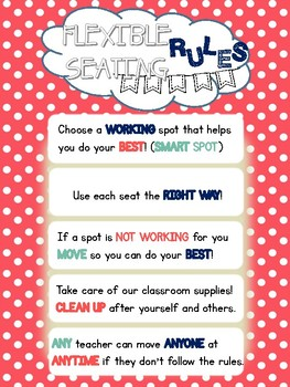 Flexible Seating Rules Classroom Poster Coral