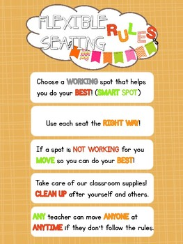 Flexible Seating Rules Classroom Poster (orange)