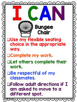 Flexible Seating Rules and Expectations with I Can Statements