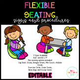 Flexible Seating Rules and Procedure Signs EDITABLE