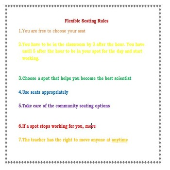 Flexible Seating Rules for the Classroom and Each Seating Option