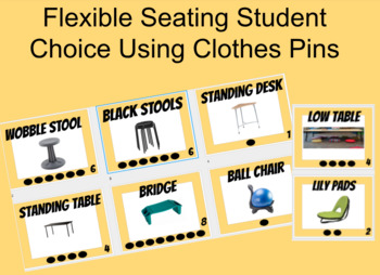 Flexible Seating Student Choice Boards Using Clothes Pins