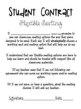 Flexible Seating Student Contract