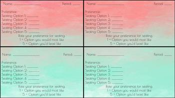 Flexible Seating - Student Seating Preference Cards