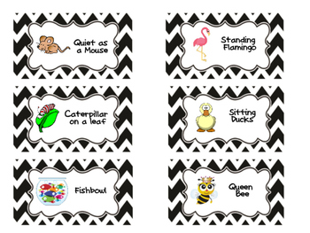 Flexible Seating Table Labels