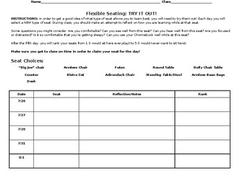 Flexible Seating Try It Out Worksheet