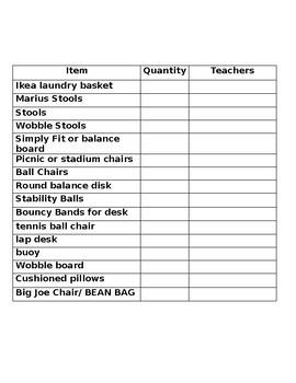 Flexible Seating Wish List Editable