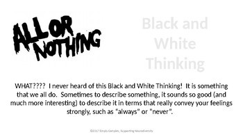 Flexible Thinking; Black and White Thinking; Coping Skills; CBT Thinking Skills