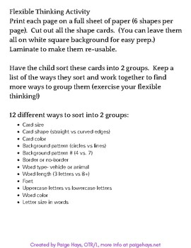 Flexible Thinking Sorting Cards- 12 ways to sort 12 card set