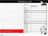 Flies Wordsearch Puzzle Sheet Keywords Biology Animals Insects