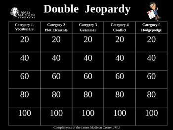 Flight #116 is Down Double Jeopardy Review Game