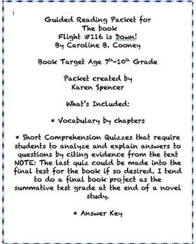 Flight #116 is Down Novel Study