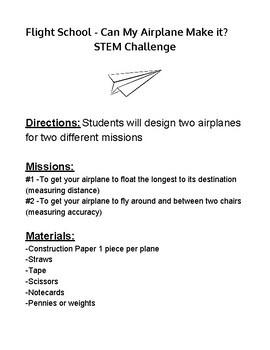 Flight School - Can My Airplane Make it? STEM Challenge