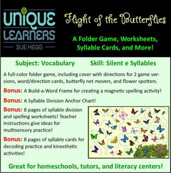 Flight of the Butterflies Folder Game Vocabulary Closed + Silent-e Syllables