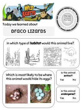 Flight of the Draco Wild Kratts Worksheet