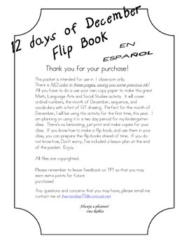 Flip Book: 12 days of December - En Español - cut/paste &