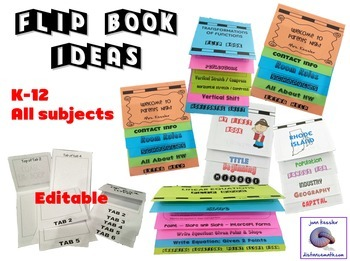 Interactive Notebooks Flip Book Templates Foldable - NO MESS 3 Sizes