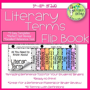 Literary Terms Flip Book: Review, Definitions, Setting, Protagonist, Anagonist