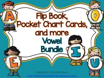 Flip Book, Pocket Chart Cards, and more - Vowel Bundle