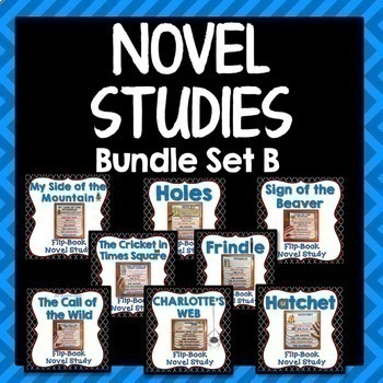 Novel Study Bundle Set B, flipbook projects, activities, literary elements