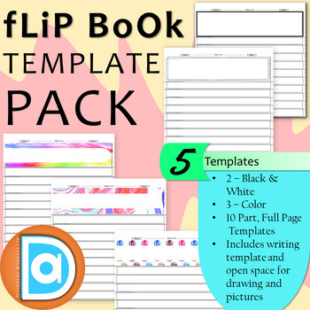 FREE Flip Book Template Bundle 5 Templates Editable Writing