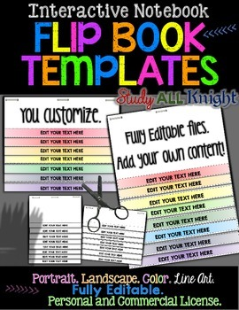 EDITABLE FLIP BOOK TEMPLATES INTERACTIVE NOTEBOOKS PERSONAL AND COMMERCIAL USE