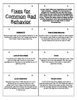 Common Fixes for Bad Behavior Flip Book