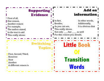 Flip Book of Transition Words