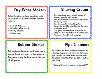 Flip Book of Ways to Practice Spelling or Sight Words