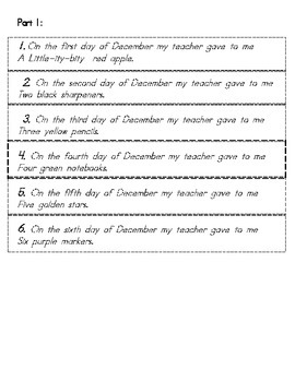 Flip Book:12 days of December-English (cut/paste & GT drawing