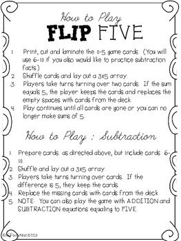 Flip Five! A Math Game for Making Five {Apples}