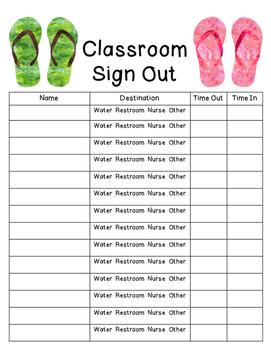 Flip Flop/Beach Classroom Sign Out Sheet
