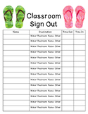 Flip Flop/Beach Classroom Sign Out Sheet