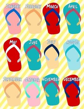 Nautical Flip Flop Birthday Chart