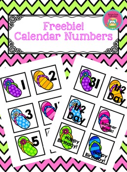 Flip Flop Calendar Numbers