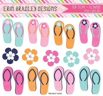 Flip Flop Clipart Graphics with Flowers