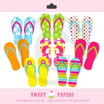 Flip Flop Digital Clipart Set - by Sweet Papers