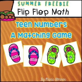 Flip Flop Math - Teen Numbers {MY MONTHLY FREEBIE}