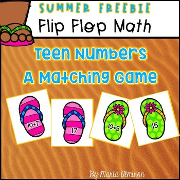 Flip Flop Math - Teen Numbers {MY MONTHLY FREEBIE}